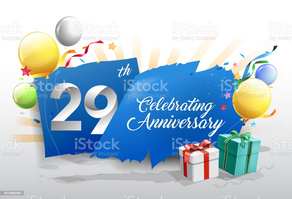 29th anniversary celebration with colorful confetti and balloon on blue background with shiny elements. design template for your birthday party. vector art illustration