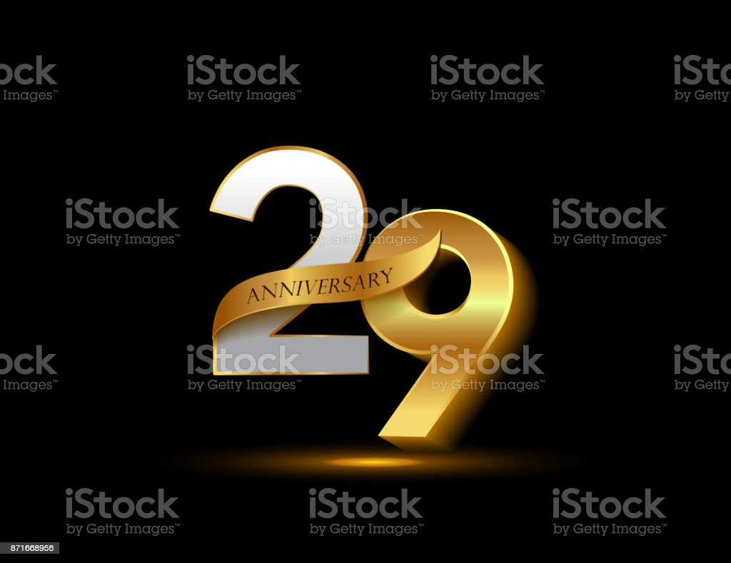 29th anniversary glowing logotype with ribbon golden colored isolated on dark background, vector design for greeting card and invitation card. vector art illustration