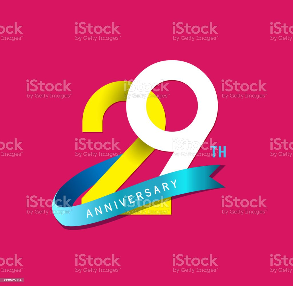 29th Anniversary simple emblems, template design for web, game ,Creative poster, booklet, leaflet, flyer, magazine, invitation card vector art illustration