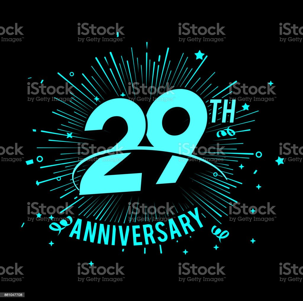 29th anniversary  with firework background. glow in the dark design concept vector art illustration