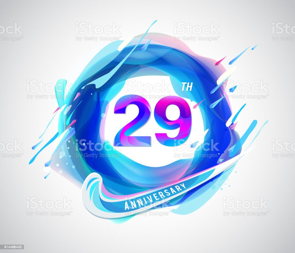 29th colorful anniversary symbol. abstract liquid color elements celebration background design vector art illustration