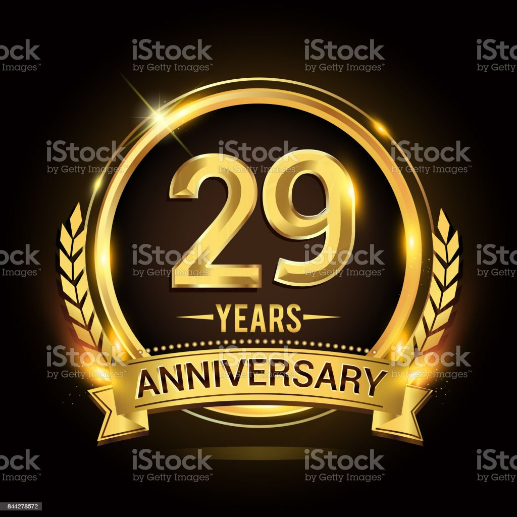 29th golden anniversary icon, with shiny ring and gold ribbon, laurel wreath isolated on black background, vector design vector art illustration