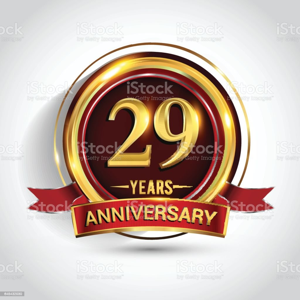 29th golden anniversary logo with ring and red ribbon isolated on white background vector art illustration