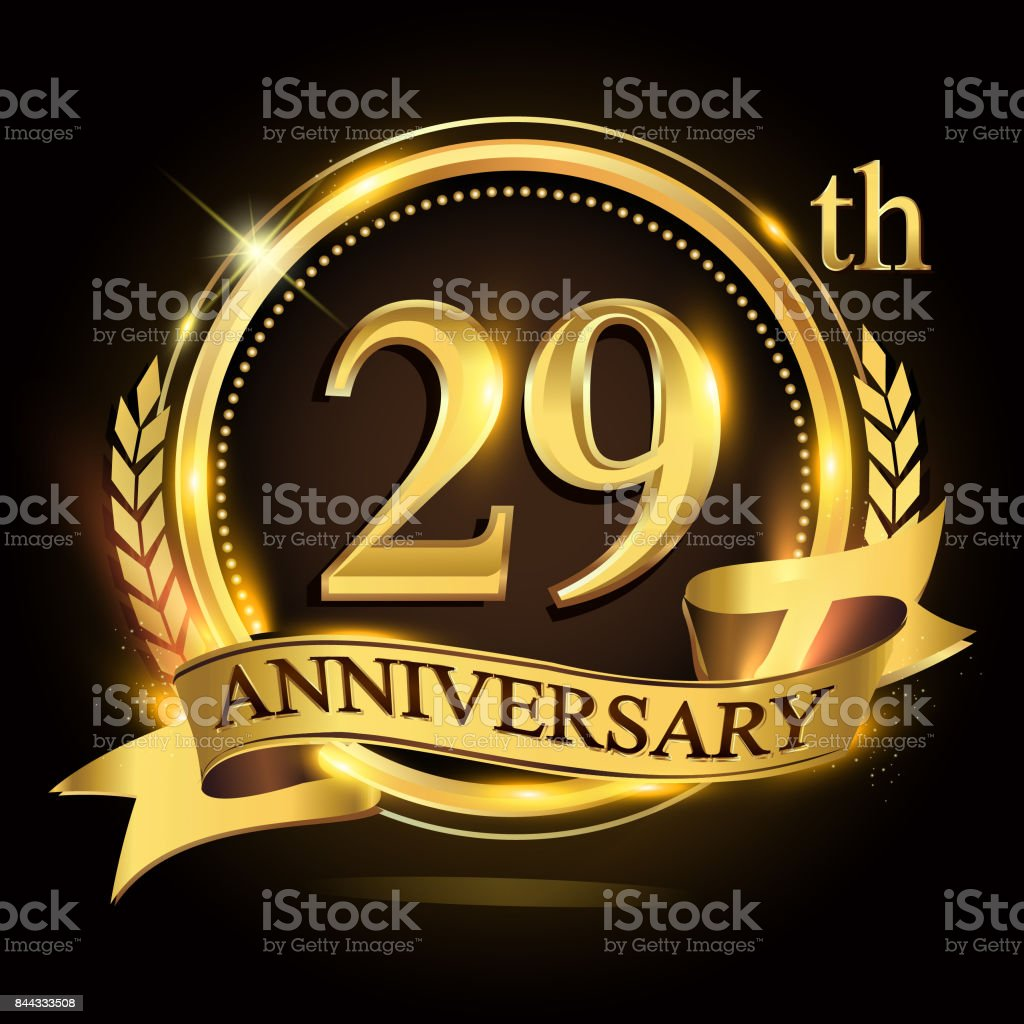 29th golden anniversary logo with ring and ribbon, laurel wreath vector design. vector art illustration