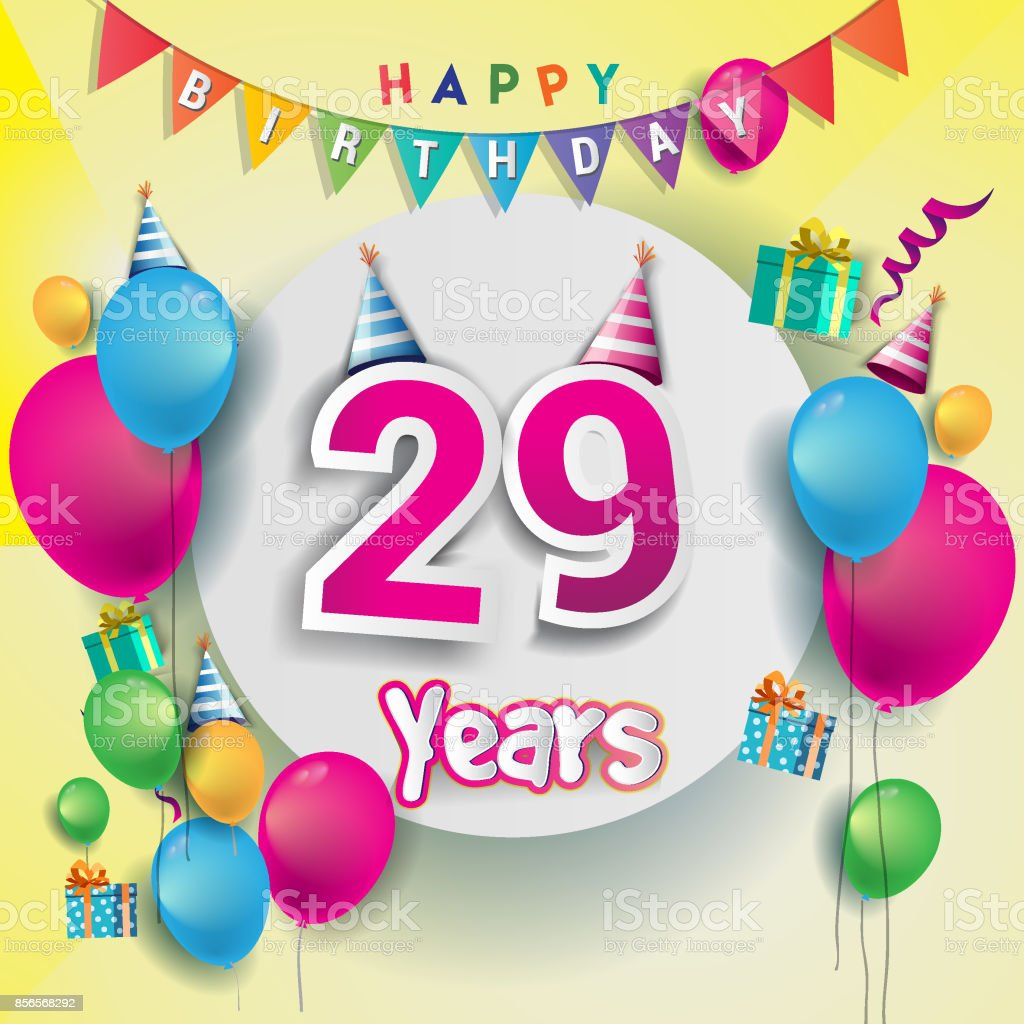 29th years Anniversary Celebration, birthday card or greeting card design with gift box and balloons, Colorful vector elements for the anniversary celebration. vector art illustration
