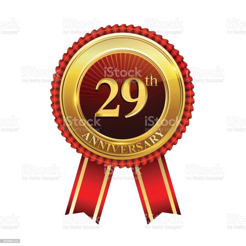 29th years anniversary golden badge with red ribbons isolated on white background, vector design for greeting card, banner and invitation card. vector art illustration