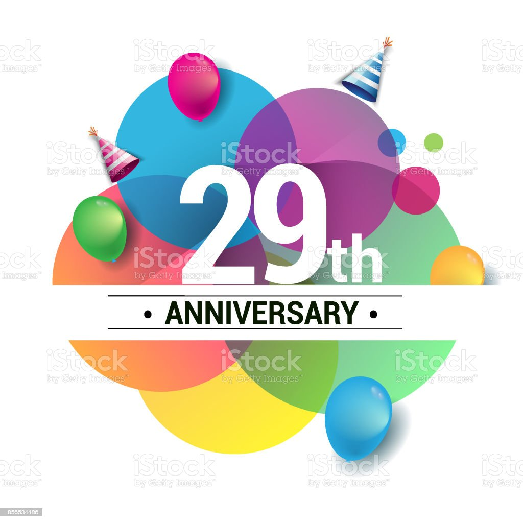 29th years anniversary logo, vector design birthday celebration with colorful geometric, Circles and balloons isolated on white background. vector art illustration
