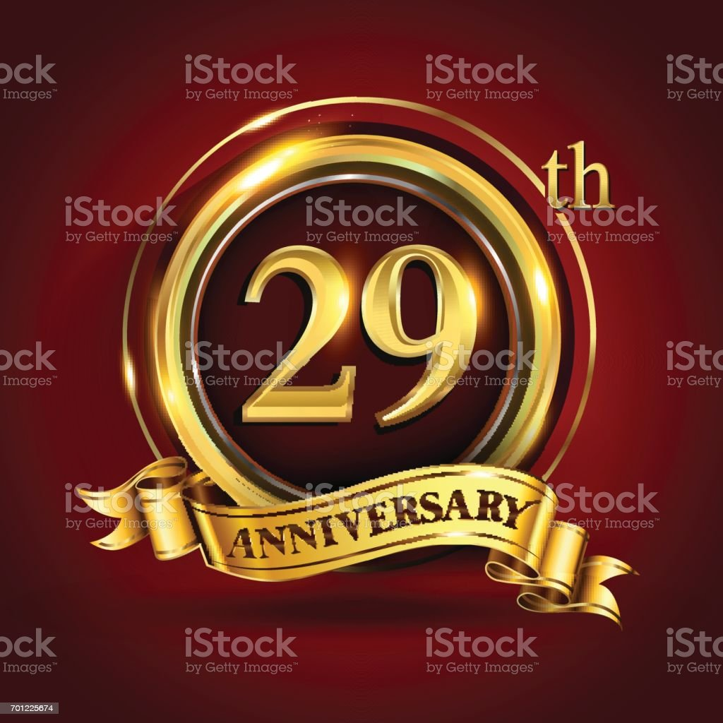 29th years anniversary logo with gold ring and golden ribbon, vector design vector art illustration