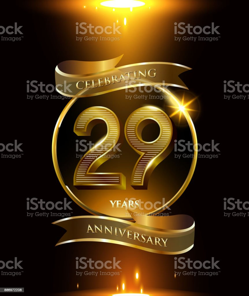 29th years anniversary logo with golden ring and ribbon colored isolated on black background, vector design for party greeting card and invitation card. celebration logotype template vector art illustration