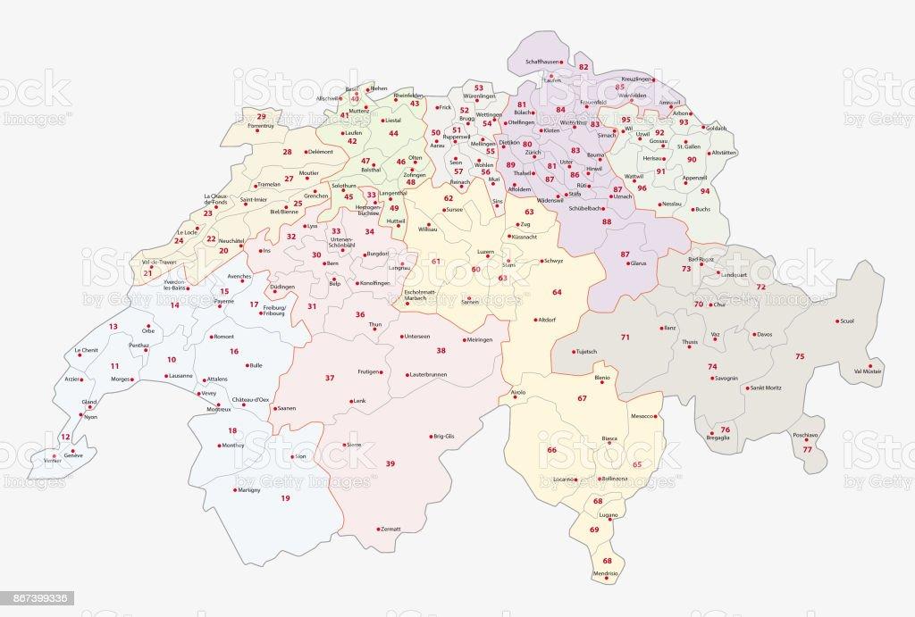 Plz Karte Schweiz.2stellige Plzgebiete Der Schweiz Karte Stock Vektor Art Und Mehr