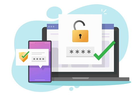 2fa authentication password secure notice login verification or sms with push code message shield icon in smartphone phone and laptop computer pc vector flat colorful, two factor or multi factor icon