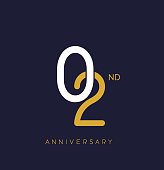 anniversary logo.overlapping number with simple monogram color. vector design for greeting card and invitation card.