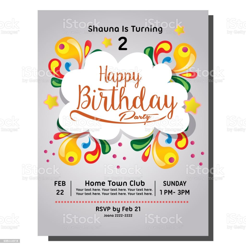 2nd Birthday Party Invitation Card Stock Vector Art & More