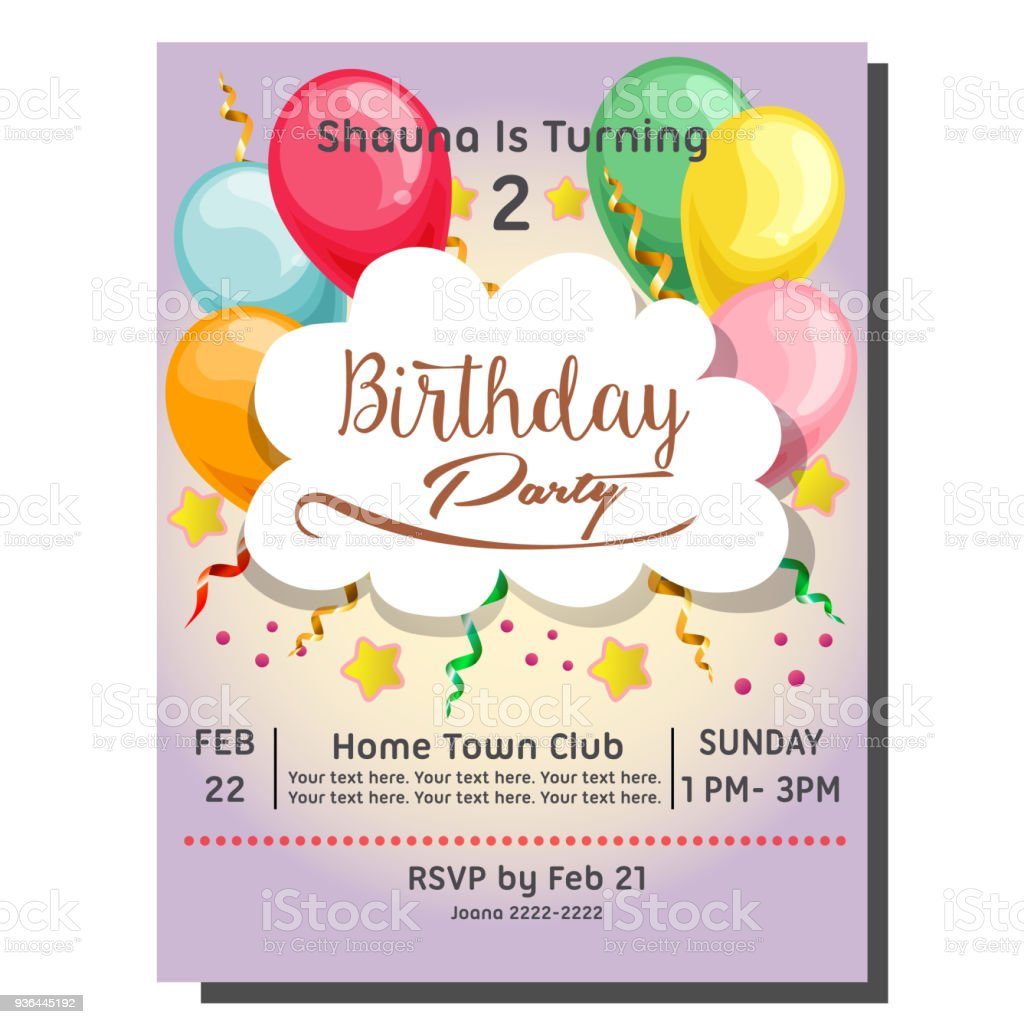 2nd birthday party invitation card with balloon stock vector art