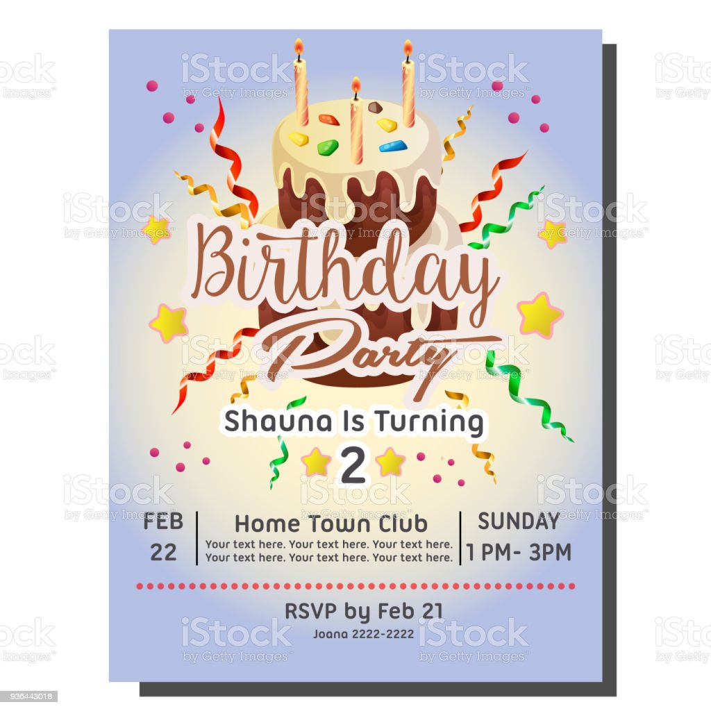 2nd Birthday Party Invitation Card With Cake Tower