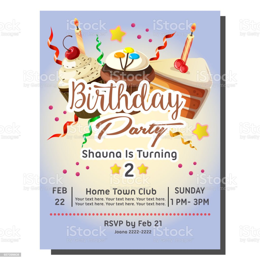 2nd birthday party invitation card with cupcakes stock vector art 2nd birthday party invitation card with cupcakes royalty free 2nd birthday party invitation card with filmwisefo