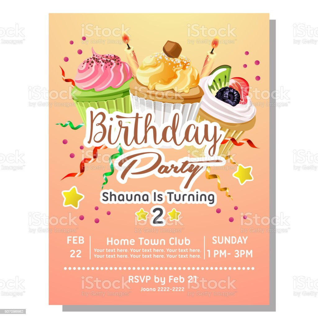 2nd Birthday Party Invitation Card With Delicious Cupcakes Stock