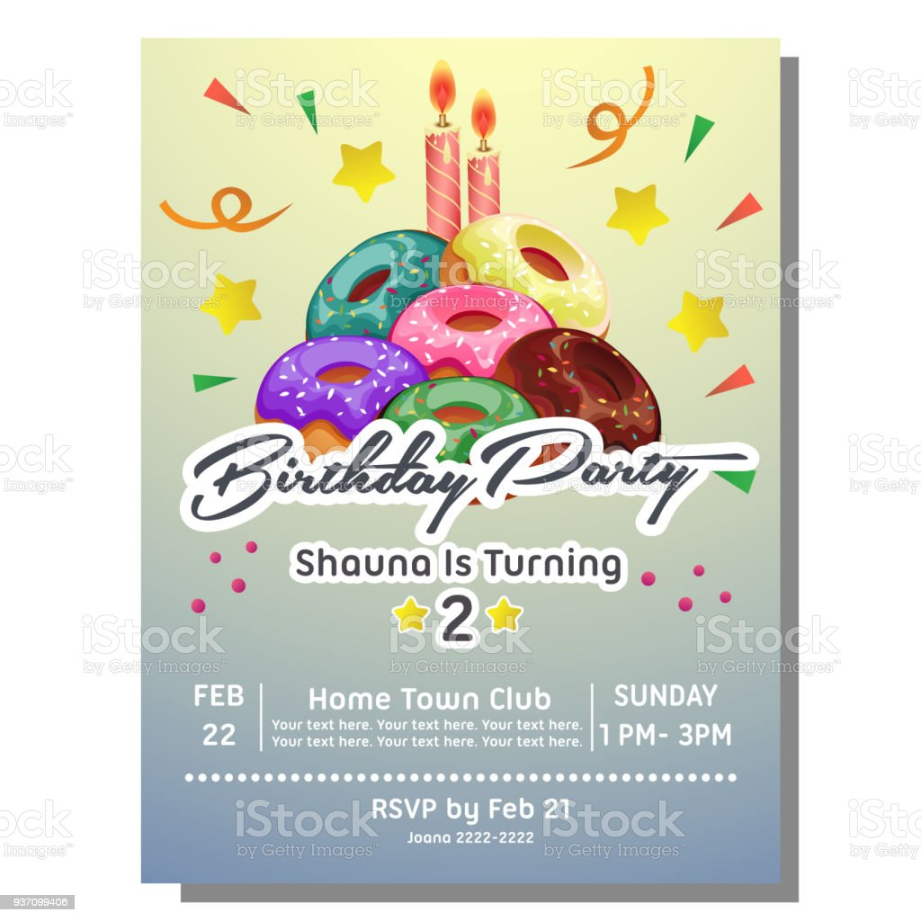 2nd birthday party invitation card with donut tower stock vector art