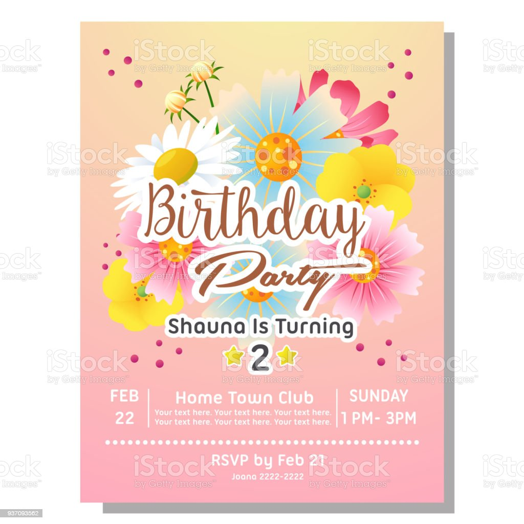 2nd Birthday Party Invitation Card With Flower Stock