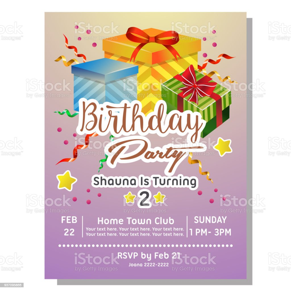 2nd birthday party invitation card with giftbox stock vector art
