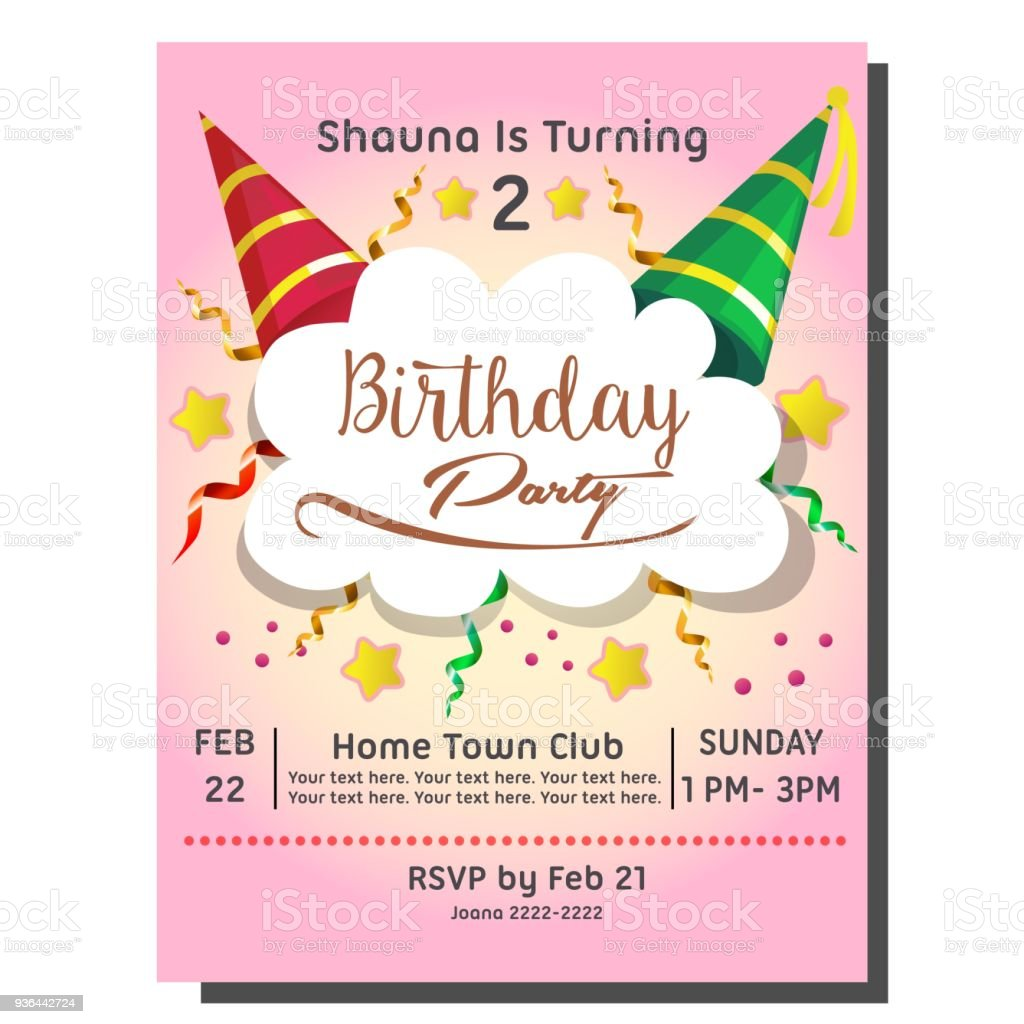2nd Birthday Party Invitation Card With Hat Royalty Free
