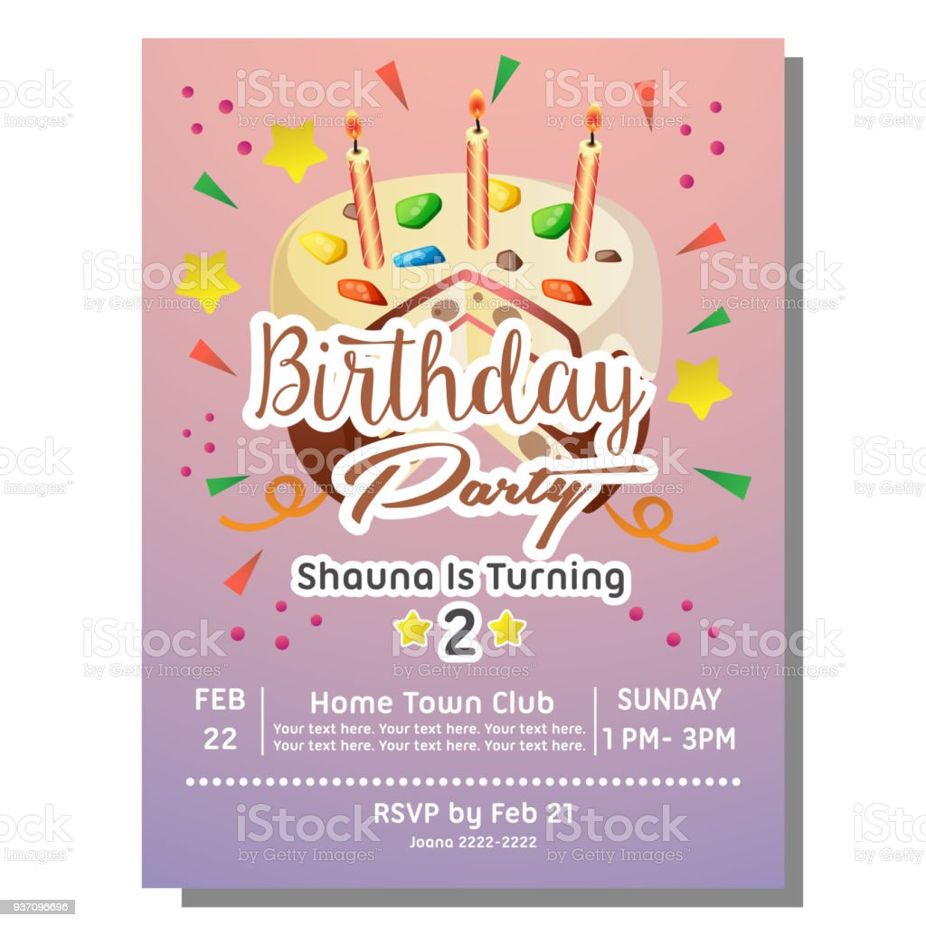 2nd birthday party invitation card with sprinkles tart stock vector 2nd birthday party invitation card with sprinkles tart royalty free 2nd birthday party invitation card stopboris Images