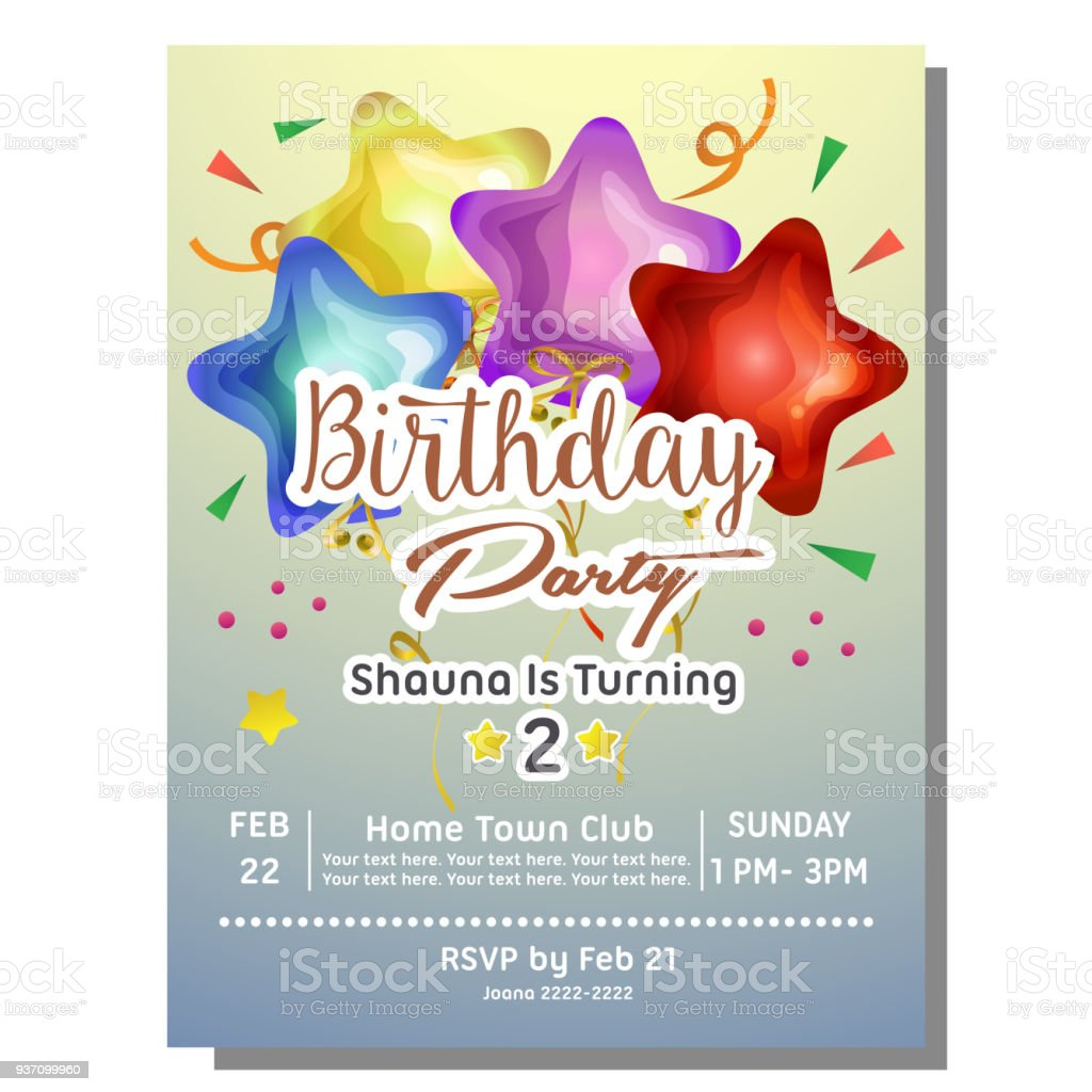 2nd Birthday Party Invitation Card With Star Balloon Royalty Free