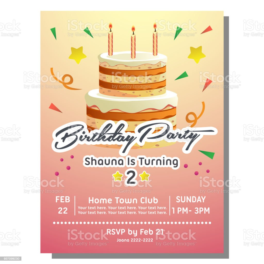 2nd Birthday Party Invitation Card With Tower Cake Royalty Free