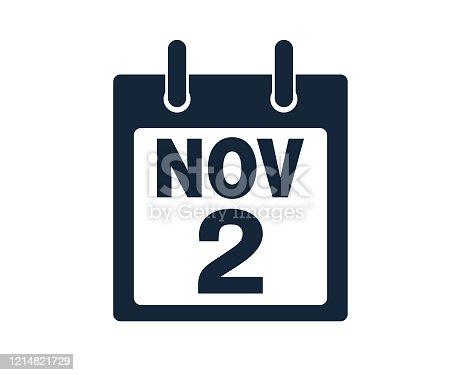 istock 2nd November Calendar Icon Stock Vector Illustration 1214821729