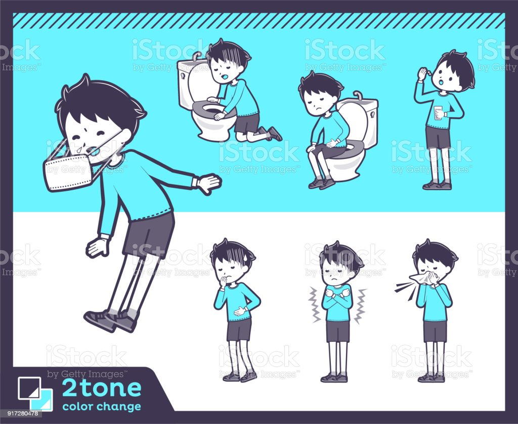 2tone type blue clothing boy_set 09 vector art illustration