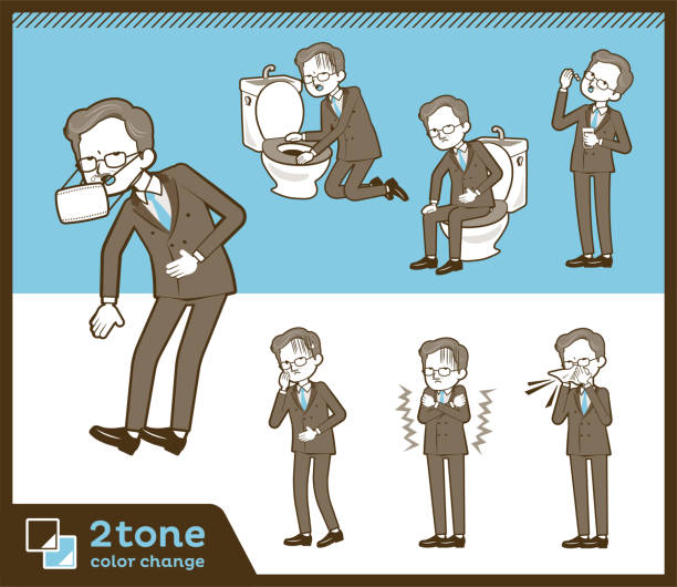 2tone type double suit old men_set 09 - old man mask stock illustrations, clip art, cartoons, & icons