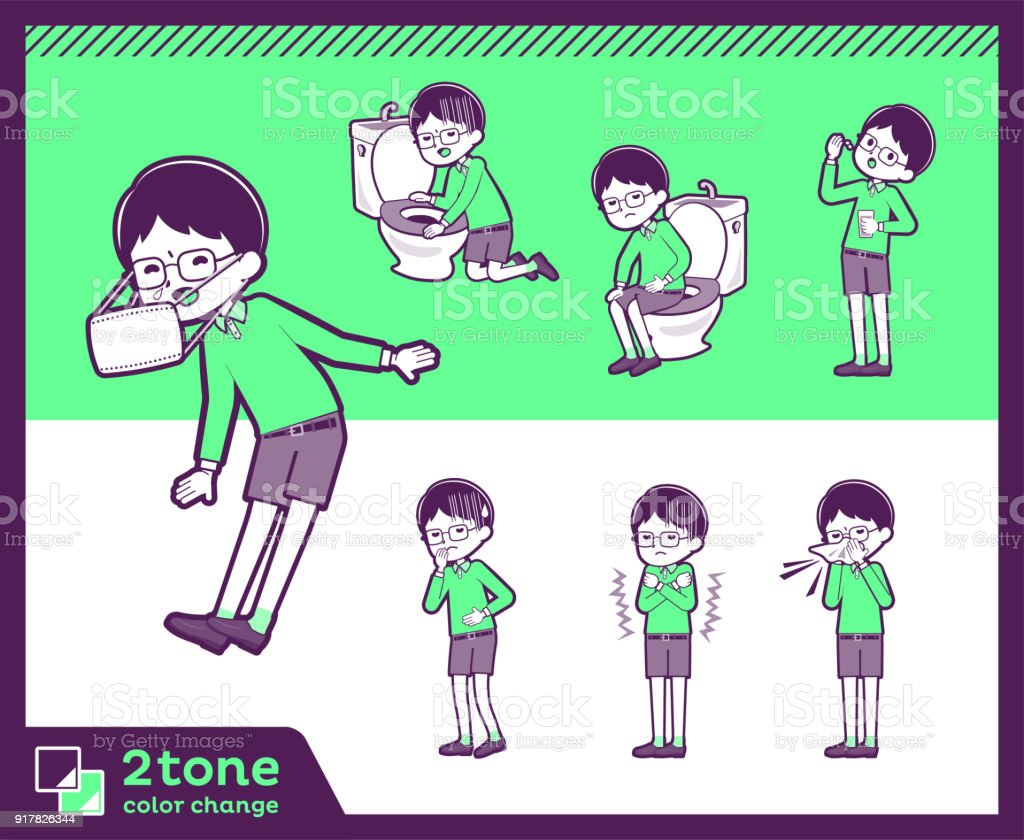 2tone type Green clothing glasses boy_set 09 vector art illustration