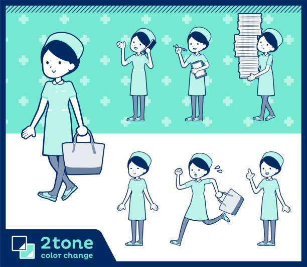 2tone art krankenschwester tragen women_set 02 - laufführer stock-grafiken, -clipart, -cartoons und -symbole