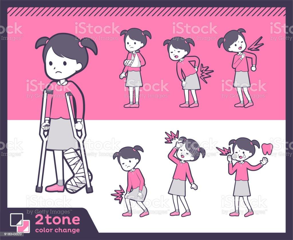 2tone type Pink clothing girl_set 08 vector art illustration