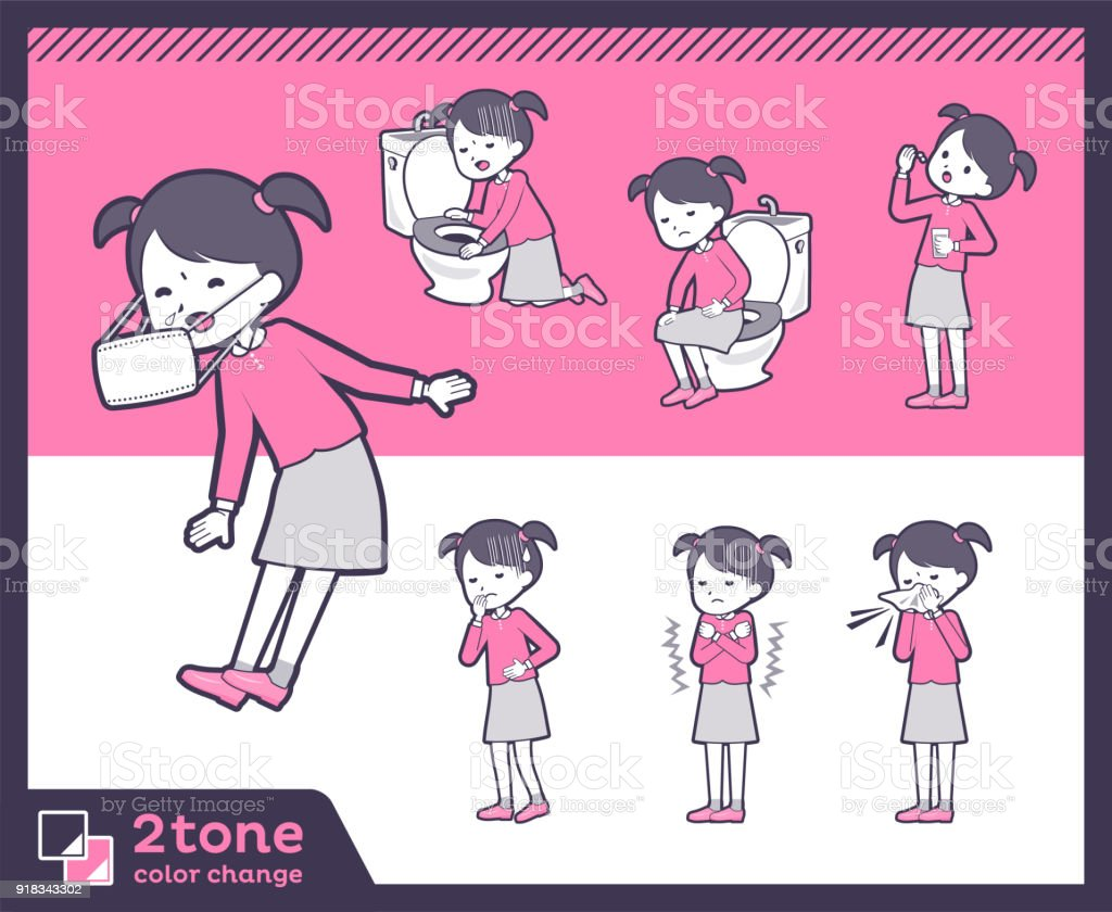 2tone type Pink clothing girl_set 09 vector art illustration