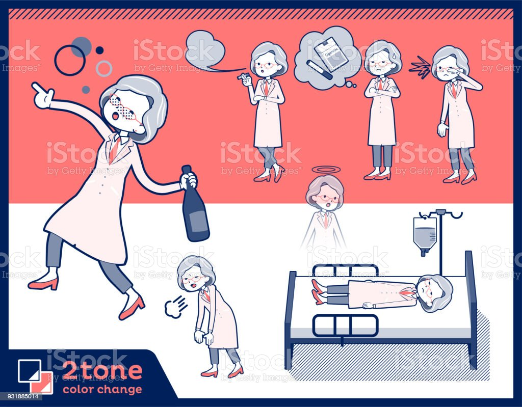 2tone type Research Doctor old women_set 10 vector art illustration