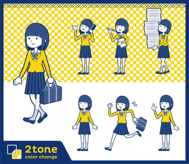 2tone typ schulmädchen blazer_set 02 - laufführer stock-grafiken, -clipart, -cartoons und -symbole