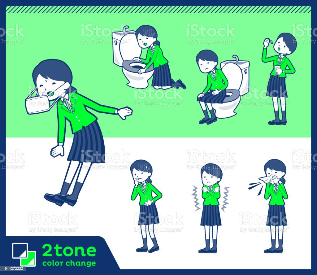 2tone type school girl green Blazer_set 09 vector art illustration