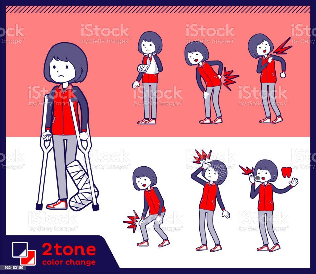 2tone type Store staff red uniform women_set 08 vector art illustration