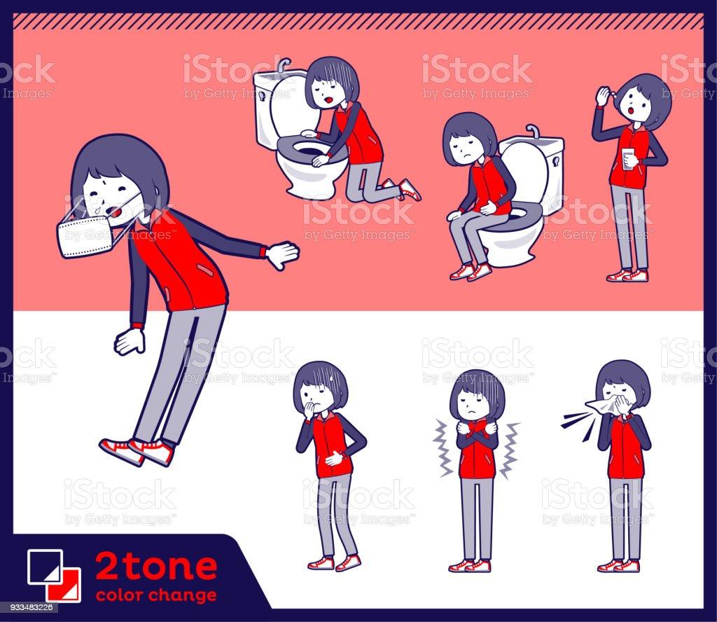 2tone type Store staff red uniform women_set 09 vector art illustration