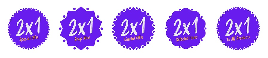 2x1 special offer sticker label or badge for shop