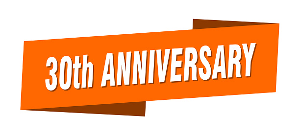 30th anniversary banner template. 30th anniversary ribbon label sign