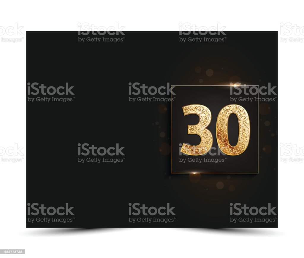 30th anniversary decorated invitation / greeting card template. 30th anniversary decorated invitation greeting card template – cliparts vectoriels et plus d'images de anniversaire libre de droits