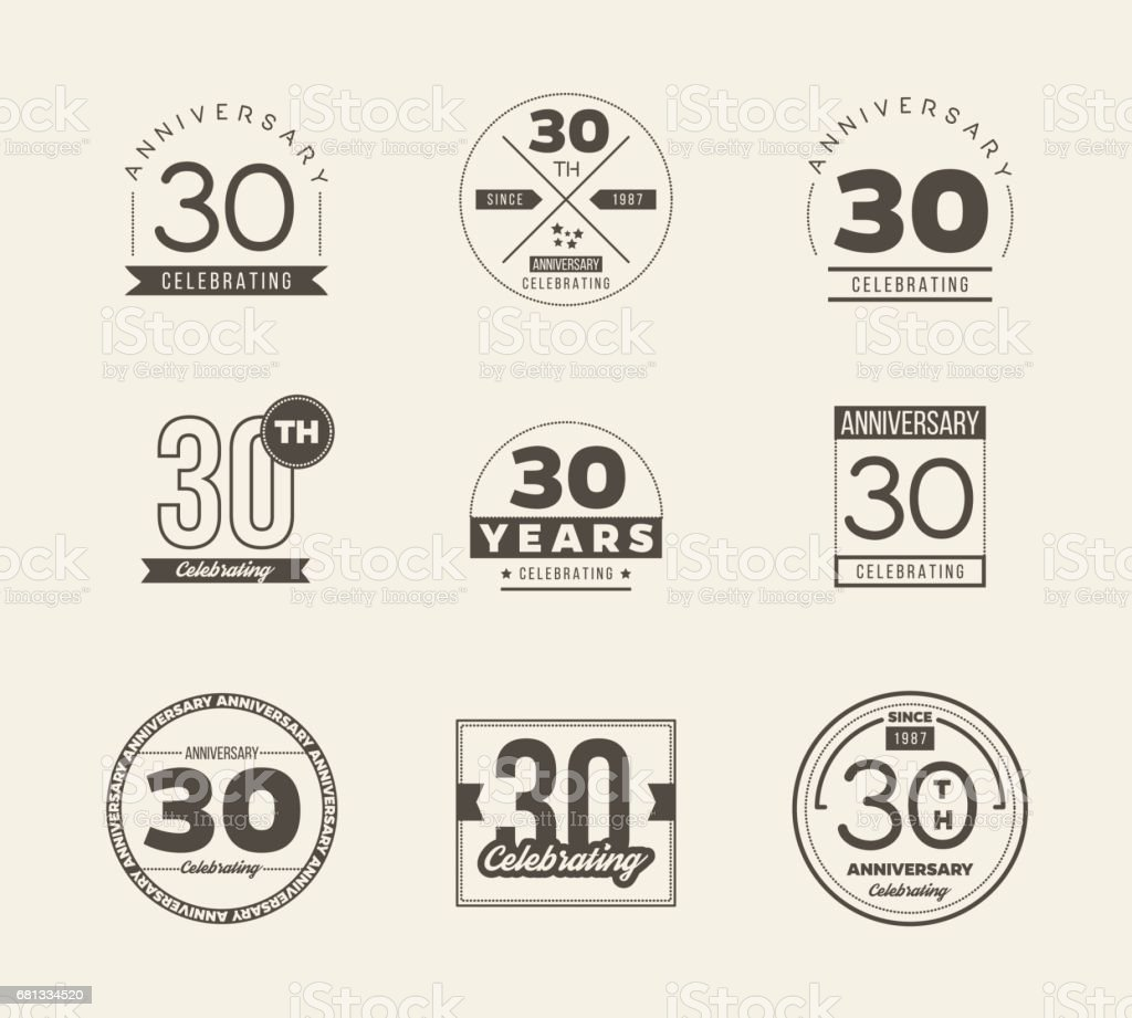 30th Anniversary Vintage Symbol Set 30 Years Symbols Stock Vector
