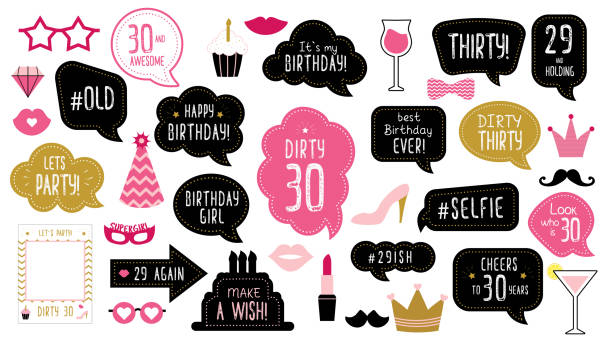 30th thirty birthday photo booth props set Photo booth props set for 30th birthday party. Happy dirty thirty 30. Mustache, funny phrases, glasses, lips, crown, cake for anniversary. Bubble speech. Photobooth elements. birthday borders stock illustrations