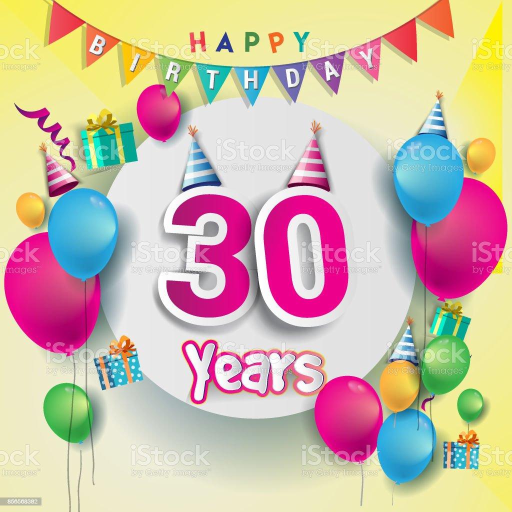 30th Years Anniversary Celebration Birthday Card Or Greeting Card