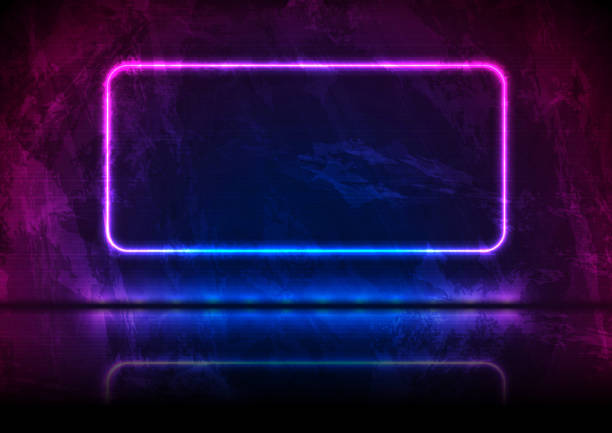311-28--blue-purple-neon-grunge-frame-rectangle vector art illustration