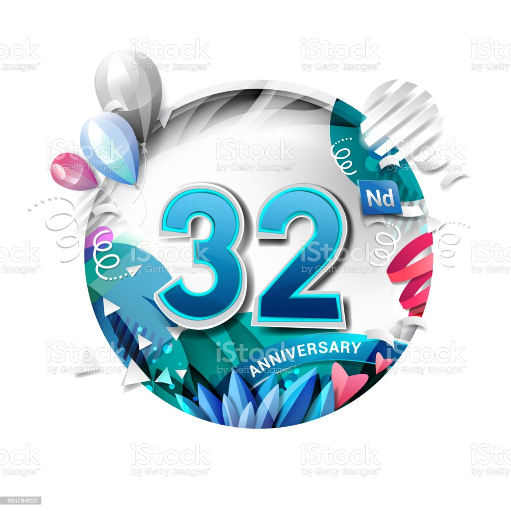 32nd anniversary background with balloon and confetti on white. 3D paper style illustration. Poster or brochure template. Vector illustration. vector art illustration