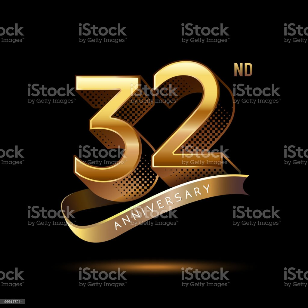 32nd Anniversary celebration logotype colored with shiny gold, using ribbon and isolated on black background vector art illustration