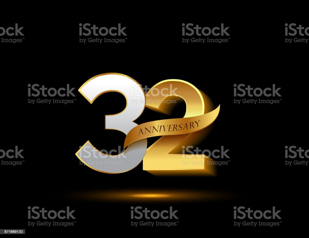 32nd anniversary glowing logotype with ribbon golden colored isolated on dark background, vector design for greeting card and invitation card. vector art illustration